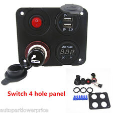 Marine Car Boat 4 Hole Control Switch panel+Dual USB Charger+Voltage +12V Socket