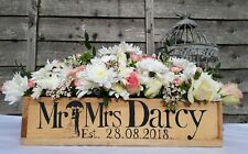 PERSONALISED WEDDING BOX MR & MRS FLOWER CRATE RUSTIC WEDDING TABLE CENTERPIECE