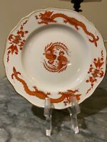 "Set of Six 6 1/4""  Meissen Red and gold opulent Dragon Bread and Butter Plates"