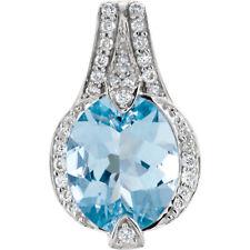 ORIGINAL Aguamarina & 1/5 CT. Tw. Diamante 45.7cm Collar en 14k ORO BLANCO