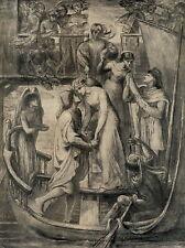Antique Rossetti Old Pre-Raphaelite Arts & Crafts Art Print BOAT OF LOVE Angel