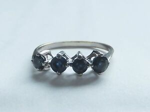 French 18ct White Gold 4 Stone Sapphire Ring