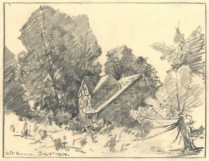 Marcus Adams - 1929 Graphite Drawing, Old House
