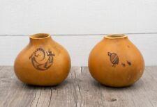 Pair of Artist Signed Primitive Gourd Art, Native Design, Birds, Lizard, WJR 93