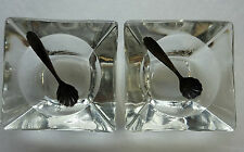 Sterling Salt Spoon Scalloped & Crystal Dish Set Diamond Crystal Salt Co