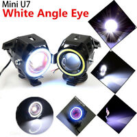2PCS U7 Angel Eyes Light 125W Faro per LED moto Faretto fendinebbia+Interruttore