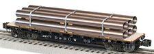Lionel Train O Scale 6-27816 Denver Rio Grande Western 40' Flatcar Metal Pipes