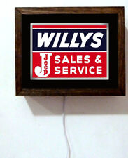 Willys Jeep Sales & Service Auto Mechanic Parts Advertising Light Lighted Sign