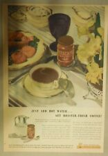 Nescafe' Coffee Ad: Just Add Water, Fresh Coffee ! from 1930's 11  x 15 inches