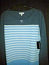 NWT KIM ROGERS WOMEN'S SIZE XL NAVY/BLUE/WHITE SWEATER/TOP SPARKLE TRIM FRONT NE
