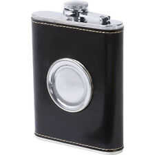 8 oz Heavy Duty Stainless Steel Leather Hip Flask Collapsible Shot Glass -Black