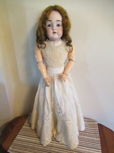 """Antique Bisque Head Kestner Doll Leather Body Compo Arms #154 26"""""""
