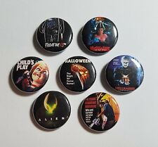 """80s HORROR MOVIE POSTERS 1"""" inch BUTTON PINBACK PIN LOT Friday 13th Halloween +"""