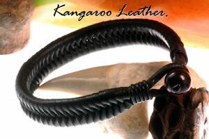 1B-710 HANDMADE Genuine New Kangaroo Leather Armband Wristband Men Bracelet