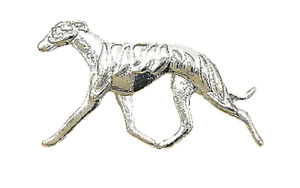 Greyhound Brooch Whippet Lurcher Dog Lapel Running Trotting Silver Coloured