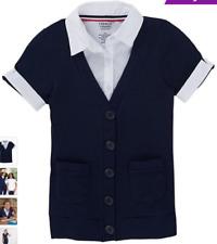 French Toast - Navy & White Layered Cardigan - Girls Size 6-6X