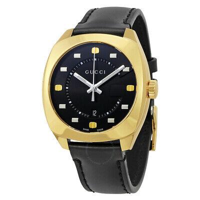 Gucci GG2570 Gold Tone Black Dial Black Leather Men's Watch YA142310 SD