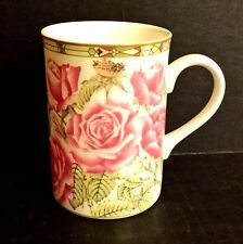 Royal Bone China Mug Pink Roses Collection of Four Designs Thailand Art Deco Rim