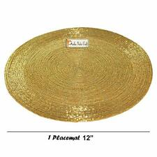 """Set of 6 Handmade Golden Round Beaded Placemat Dining Table Tablemat Decor 12"""""""