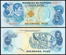 ABL Philippines 2 Pesos Rizal RED FANCY Serial No AJ 444777  Banknote