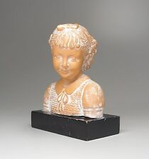 """Vintage Terracotta Bust on Pedestal Young Girl Smiling Spain 4.5"""" High"""