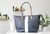Michael Kors Travel Large Leather Stripe Light Sky TZ Tote Handbag Shoulder Bag
