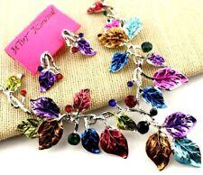 Set Hot Betsey Johnson  Jewelry Enamel Rhinestone color leaf necklace earring