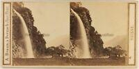 Suisse Caduta Da La Froda Biasca Foto A. Braun Stereo c1860 Vintage Albumina