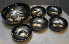 Aizu Japan Lacquerware Lacquer Ware Salad Set Black Gold