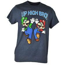 Super Mario Luigi Up High Bro Nintendo Video Game Heather Navy Tshirt Tee