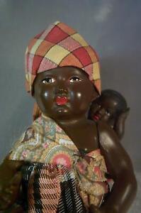 """Original Antique Doll French Eagle Mark Petitcollin Celluloid 5"""" Mamma & Child"""