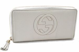 Authentic GUCCI SOHO Tassel Long Wallet Leather White C3158
