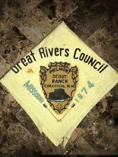 Great Rivers Council 1974 Philmont Rare  YL Neckerchief Boy Scout Lodge 216 MO