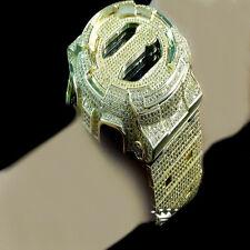 Iced Out 14K Gold Finish Designer G Shock Metal Band Custom Digital Watch  GD100