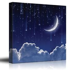Crescent Moon with Bright Falling Stars Above the Clouds - Canvas Art - 24x24