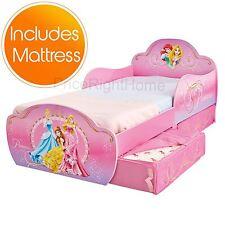 DISNEY PRINCESS MDF TODDLER BED WITH STORAGE + DELUXE MATTRESS GIRLS