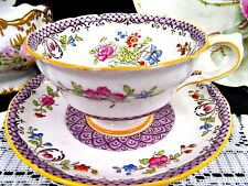 Copelands Grosvenor tea cup and saucer floral footed teacup pattern purple