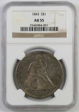 1843 Seated Liberty Dollar : NGC AU55