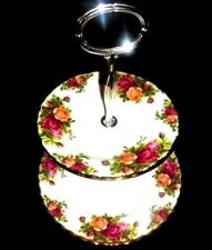 2 TIER ROYAL ALBERT Bone China Old Country Roses Cup Cakes Stand.Great Condition