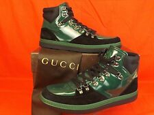 GUCCI SOFTY TEK CONTRAST INTERLOCKING BLACK GREEN LEATHER HI TOP SNEAKERS 9 10