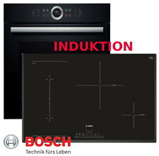 Induktion Herdset BOSCH Backofen Schwarz + Induktion Kochfeld 80cm Breit NEU&OVP