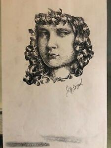 """Vintage Josef M. Kozak Original Art Portrait """"UNTITLED"""" Drawing Signed Unframed"""
