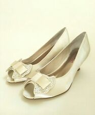 Lily Rose Satin Diamanté Bridal Deb Light Ivory Shoes Size 39 Hill 6cm Open Toe