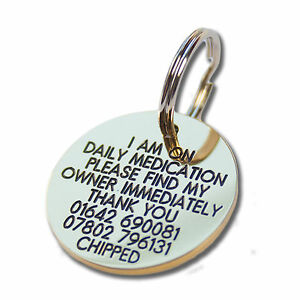 Deeply engraved solid brass dog tag, 33mm disc. Up to 8 lines on each side