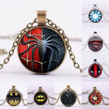 Vintage Superhero Batman Superman Cabochon Iron Man Glass Chain Pendant Necklace