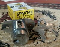 VINTAGE SPARTAN SOLID BRASS PUSHLOCK NEW Old Stock Chrome FINISH #3