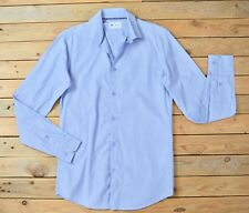 Mens Long Sleeved Blue Checked Classic Cotton office Shirt Size S