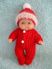 "Hand knitted set for a 5"" berenguer/similar sized doll"
