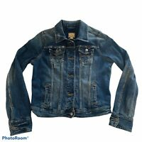 Abercrombie and Fitch Size Large Women's Button Up Distressed Denim Jean Jacket.