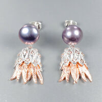 Handmade SET Natural Pearl 925 Sterling Silver Earrings /E37086